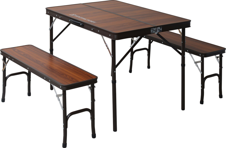 TENT FACTORY (tent factory) Dual table separate set Brown table (90 ~ 65 ~ 68 (35) cm) chair (87 ~ 25 ~ 40cm) ~ 2 leg TF-DFS9065-3-BR