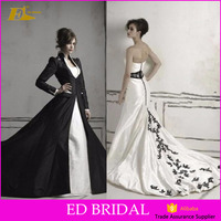 Middle East Strapless Detachable Jacket Black And White Beads Embroudery Pakistani Wedding Dresses