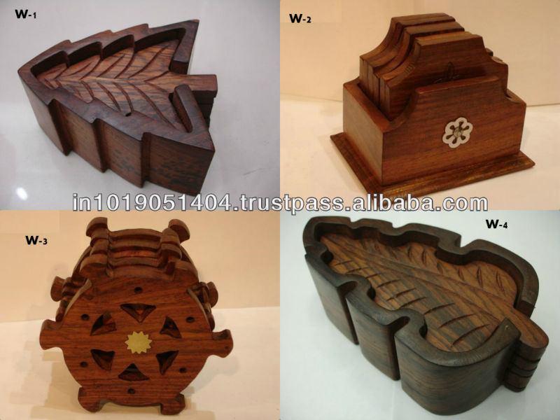 Handcrafted Wooden Coasters In Square & Round Shapes