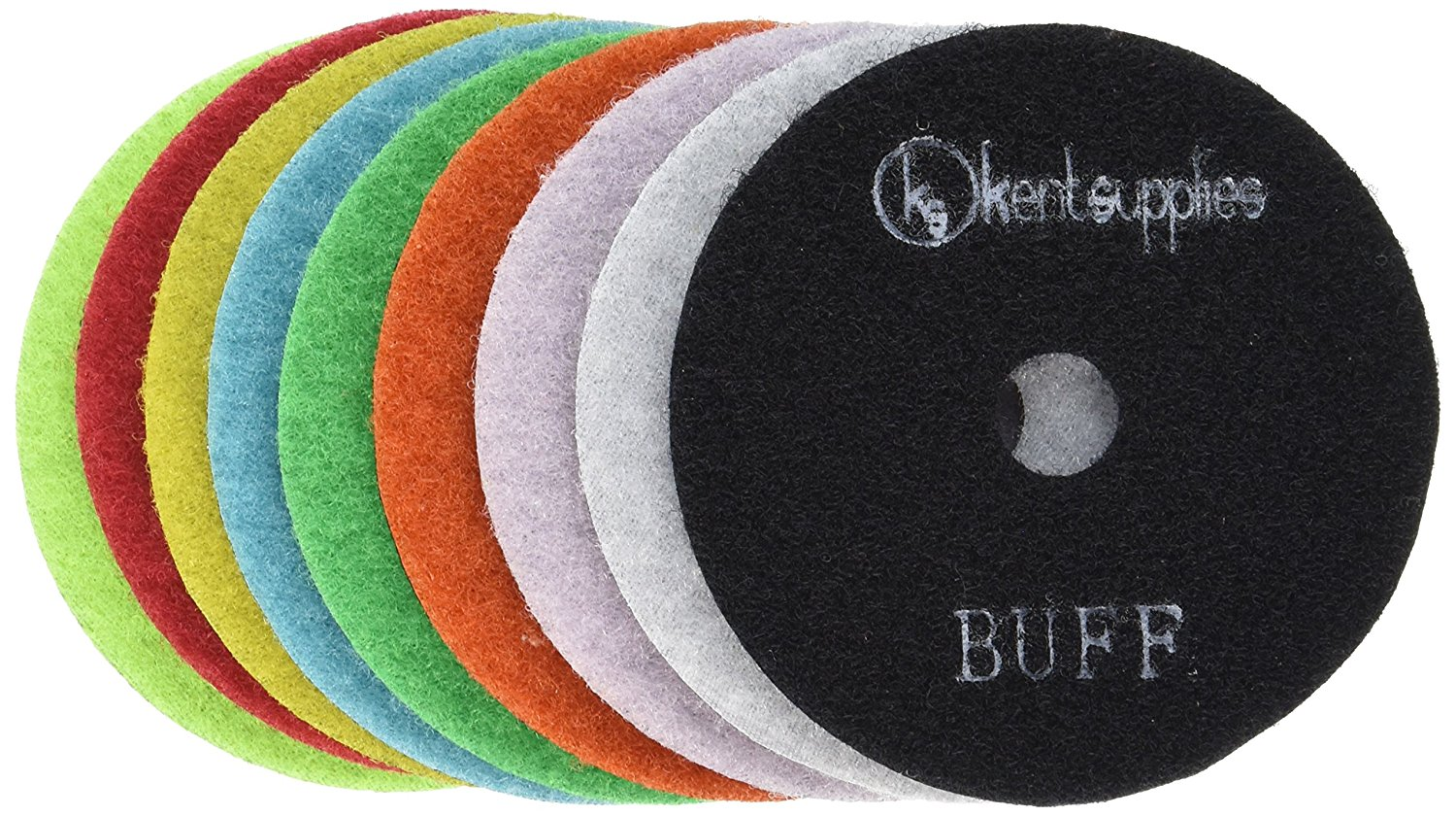 "KENT 9pcs Set 4""DRY Premium Quality Diamond Polishing Pads, Assorted Grits, 2mm Thick, With Black And White Buff, Velcro Style For Granite Marble Onyx Stone"