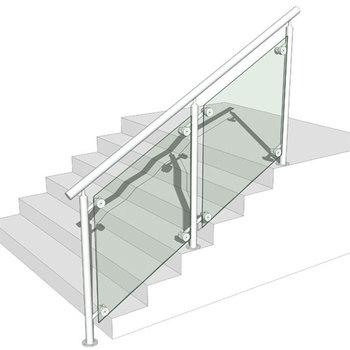 Customized Stainless Steel Glass Design Fancy Stairway Handrail