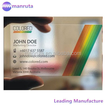 Fast Delivery Free Design Plastic Clear Pvc Name Card One Face Printing Matte Surface 500 Pcs