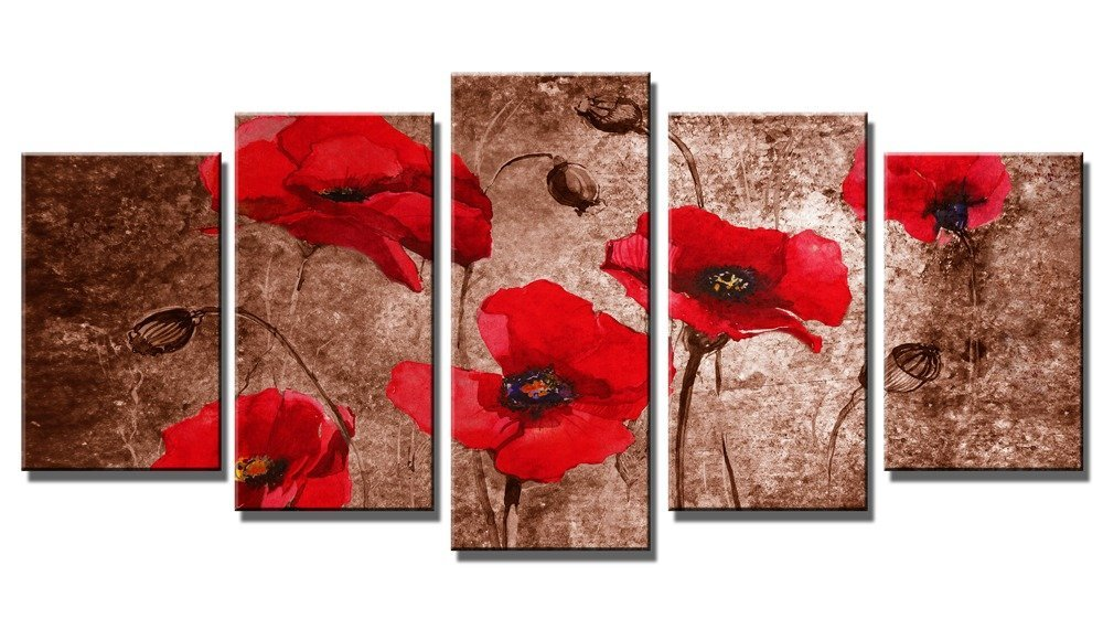 Buy Wieco Art Red Poppies On Brown 5 Panels Floral Canvas Prints