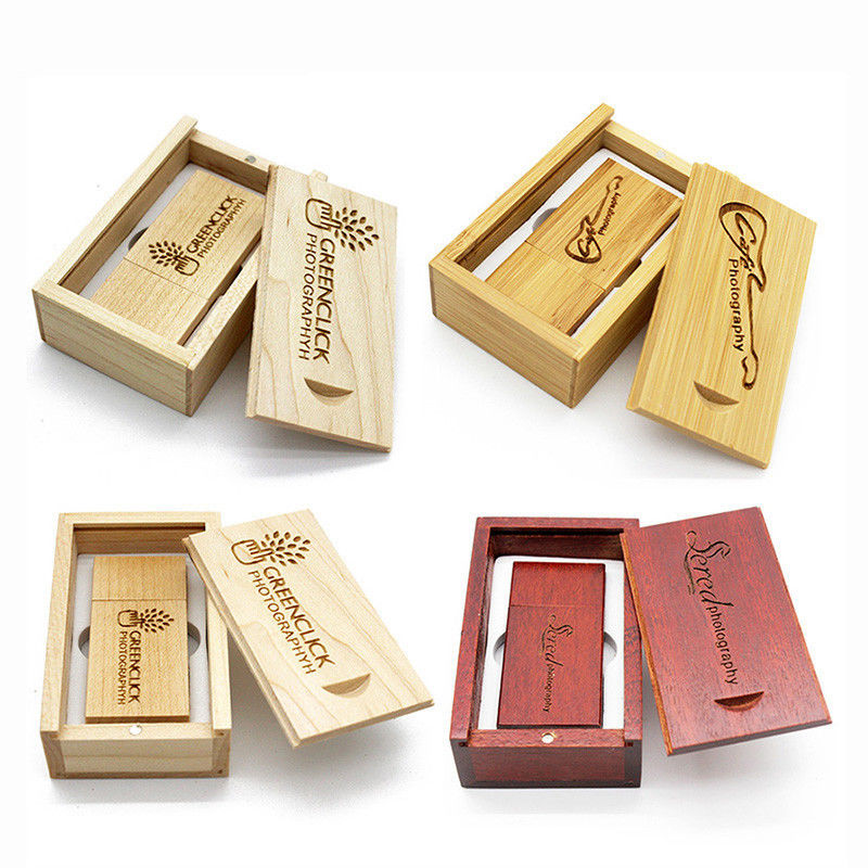 Engraved Custom Wood USB + Wooden Packing Box USB Flash 2.0 Memory Pen Drives