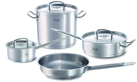 """Fissler Original Pro 7 pc original profi Stainless Steel Cookware Set - 9.5"""" Fry Pan, 3.2qt Sauté Pan w/ lid, 9.6qt Stock Pot w/ lid, 1.5qt Saucepan w/ lid"""