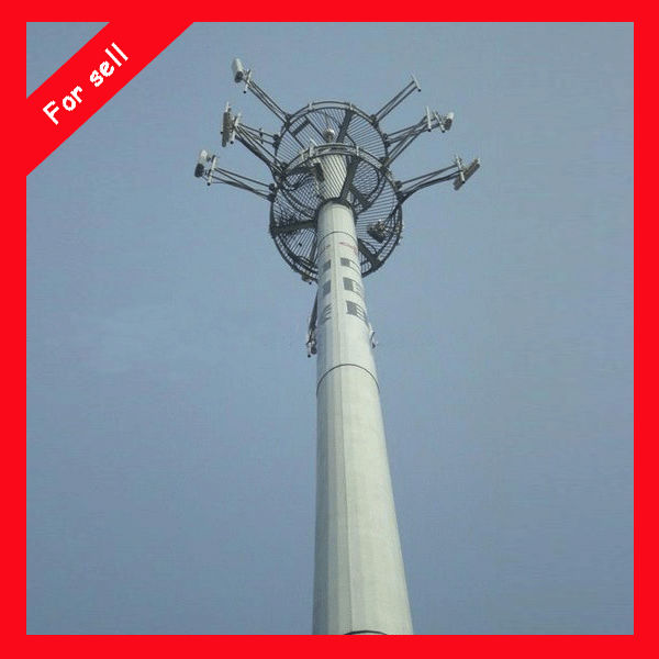 China Mobile Steel Monopole tower used for hang antenna China Mast Monopole for communication