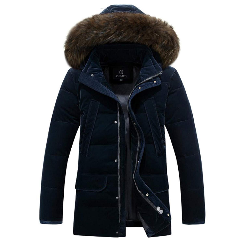 YUNY Mens Fur Faux Hooded Mid Long Oversized Winter Parka Anorak Green 3XL
