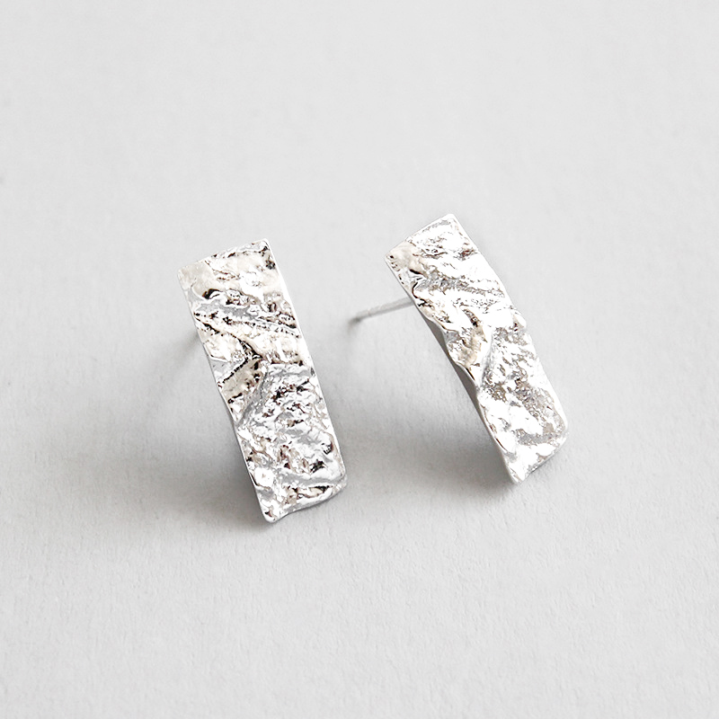 Qianrui Jewelry Manufacturer direct wholesale personalized unique simple 925 sterling silver bar stud earrings for Women Girls фото