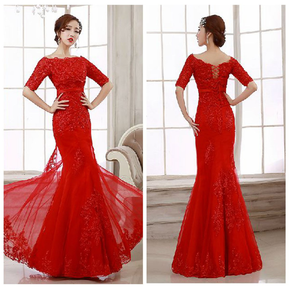 new 2015 red sexy lace mermaid, 3, 4, sleeve Floor Length ...