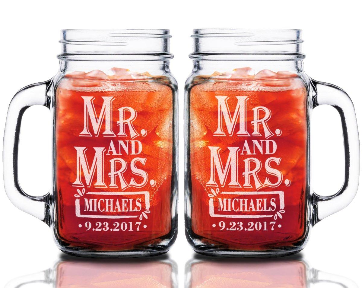 Mr Mrs 24oz Set of 2 Couples Custom Mason Jar Wedding Anniversary Personalized Groom Bride Gift Future Mr. Mrs. Glasses