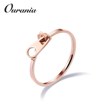 Fashion Design Anium Woman S Engagement Rings Rose Gold Color Cute With Zipper For