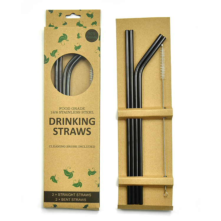 FDA Approved 10.5 Black Stainless Steel Drinking Straws For 20 oz 30 oz Tumbler, Customized