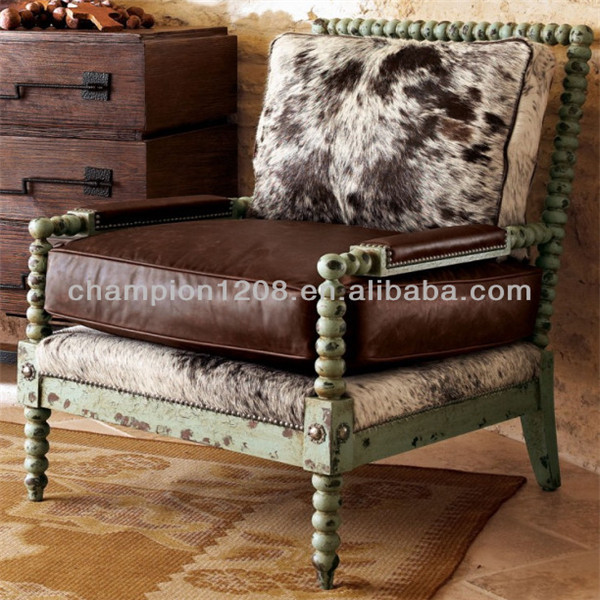 Barco style faux fur fabric and real leather mixed single seater sofa chairs, wooden armchair