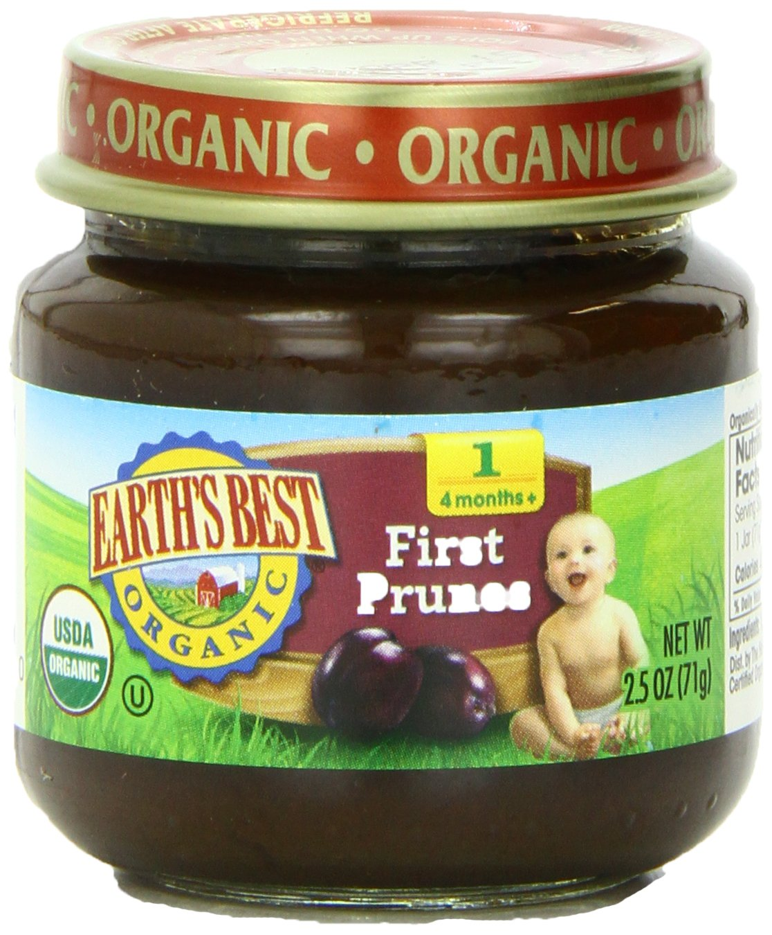 Earth's Best Organic Stage 1 Baby Food, Prunes, 2.5 Ounce Jars, Pack of 12