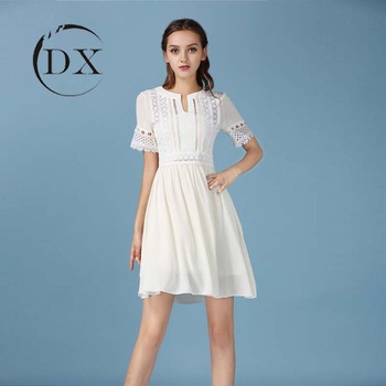 New Spring And Summer White Lace Dress Female Chiffon Dress Cents Korean Short Sleeved Round Neck Collar Hollow Dress Buy Summer White Lace