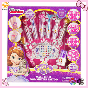 Disney Sofia The First Glitter Temporary Tattoo Gift Set Stencil ...