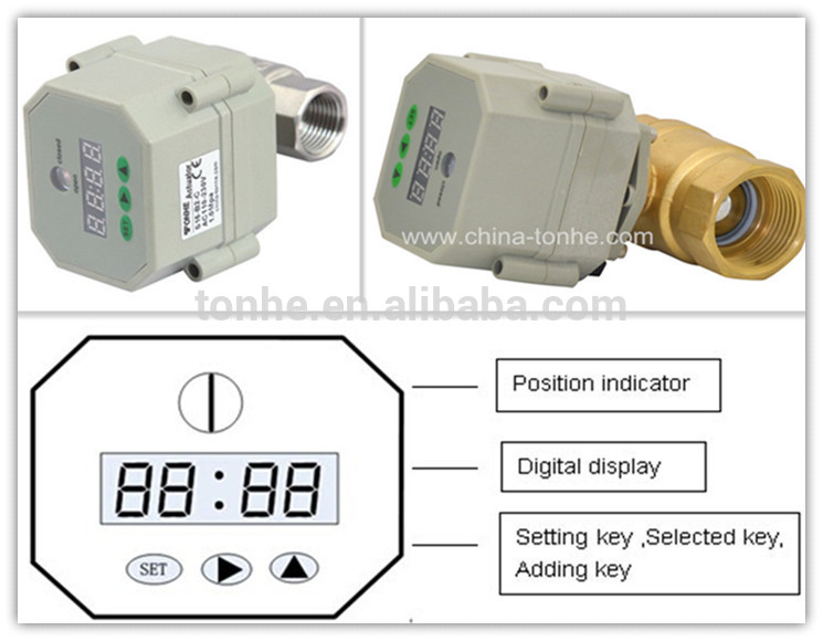 DN20 Timer Controlled electric/motorized ball water valve with CE (S20-S2-C)