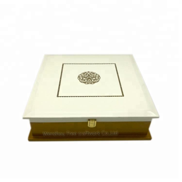 ที่กำหนดเองหรูหราเปียโนสี MDF กล่องชาไม้, การจัดเก็บวานิชบรรจุภัณฑ์กล่องไม้บานพับ