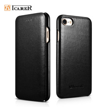 ICARER Luxury Black Real Leather Mobile Phone Skin Case for Apple iPhone 7