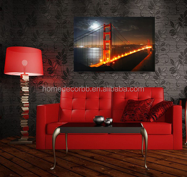 Wall art with light up canvas paintings ,stretched and framed art work,wholesale famous picture led for home decor