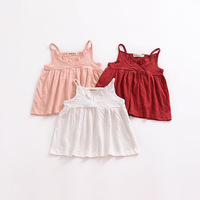 Children Girl Breathable Tank Top Solid Spaghetti Strap Top for Summer Toddler Girl Beach Top White Pink Black Available