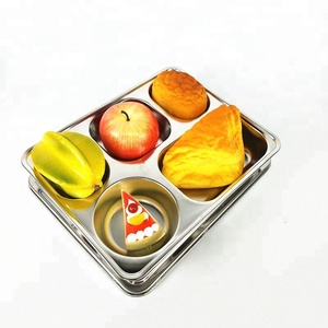 304 stainless steel food tray with 5 compartments hospital food tray