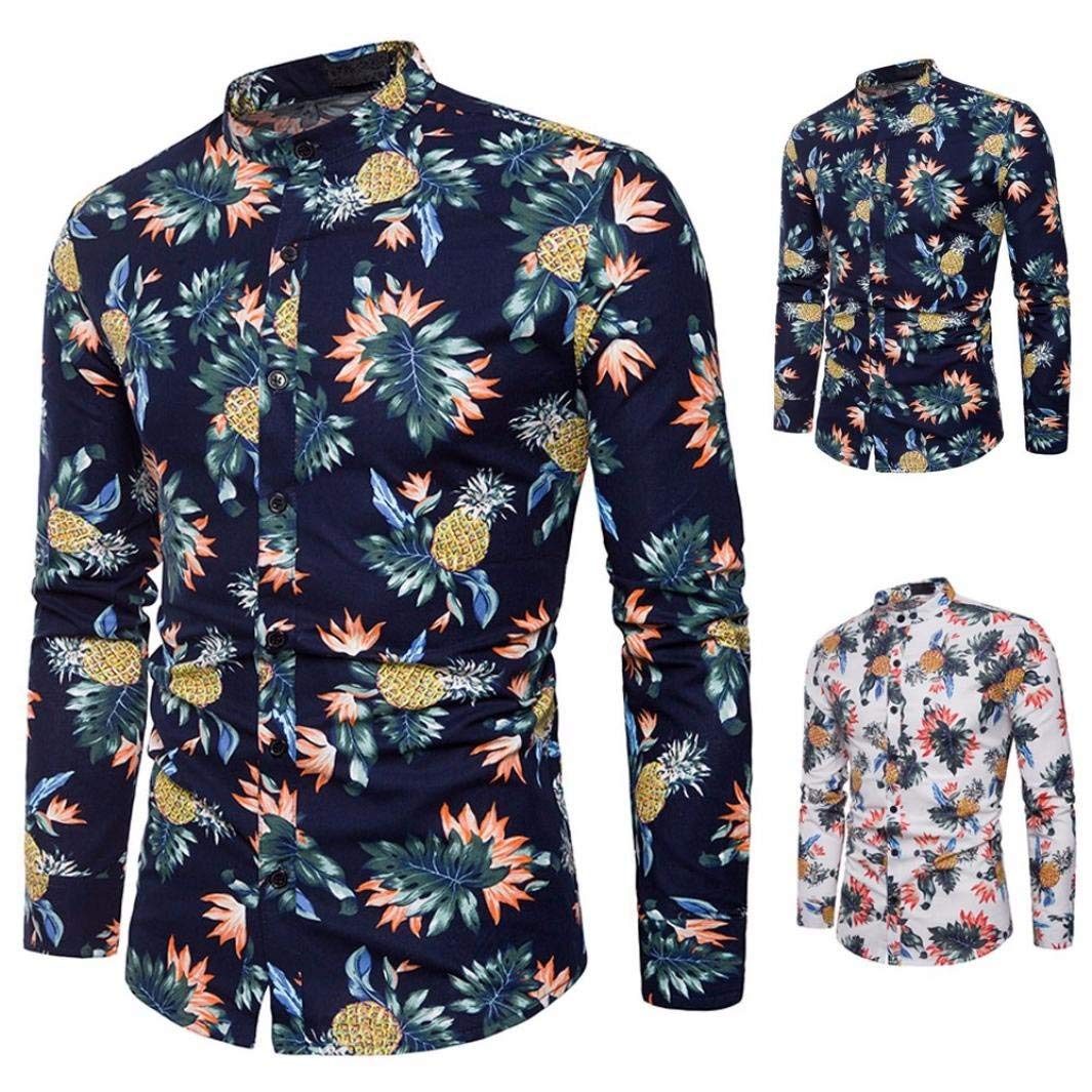 OWMEOT Mens Fashion Button up Shirt Slim Fit Contrast Long Sleeve Casual Button Down Shirts