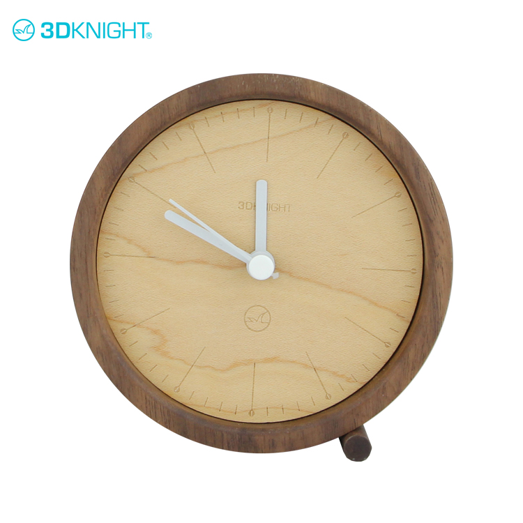 9.2*9.2cm solid real walnut and cherry wooden table alarm clock designs wood