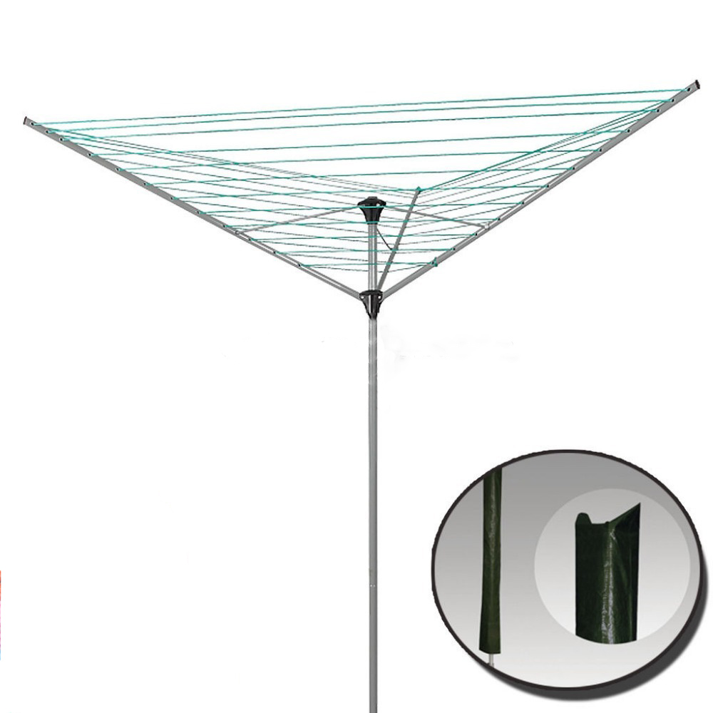 ADDIS ROTARY DRYER AIRER PARASOL WASHING LINE COVER GREEN & LEAF DESIGN WITH ZIP