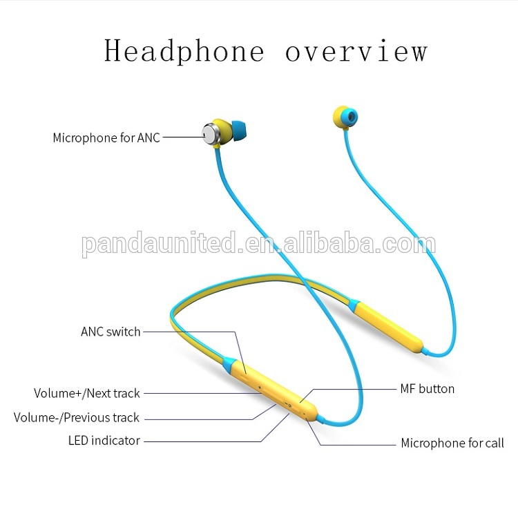 2018 New design headphones stereo wireless neckband headset earphone with mic