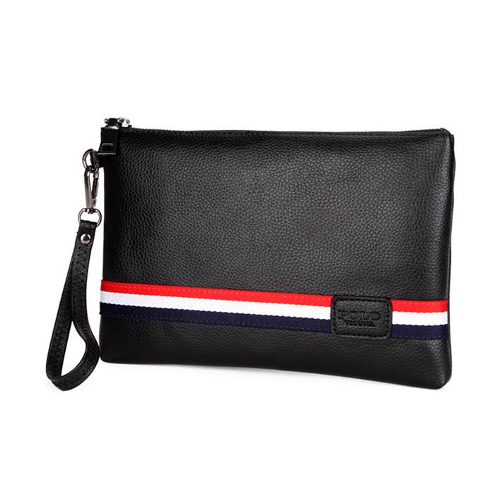 faa0a98bab VICUNA POLO Classic Black Fashion Striped Design China Brand High Quality  PU Leather Men Clutch Handbag