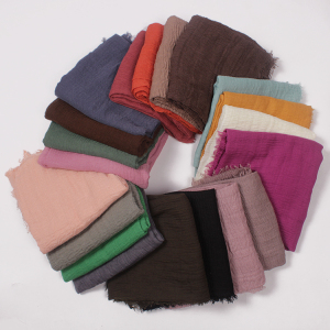 Crimp Frayed Edges Plain Solid Colours Crinkle Muslim Women Hijab Scarf /shawl