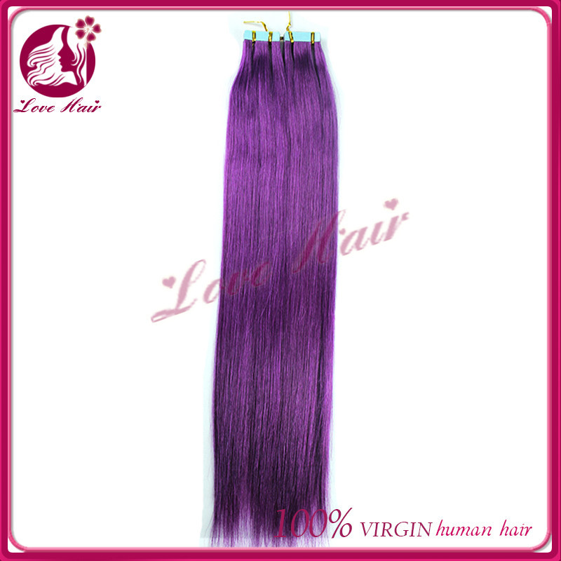 Summer hot straight skin weft soften raw virgin brazilian purple color tape hair in meeting