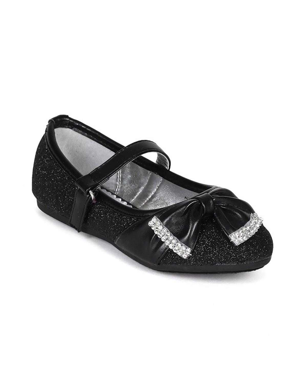 Little Angel BH33 Glitter Bow Embellished Slip On Ballerina Flat (Toddler/ Little Girl/ Big Girl) - Black