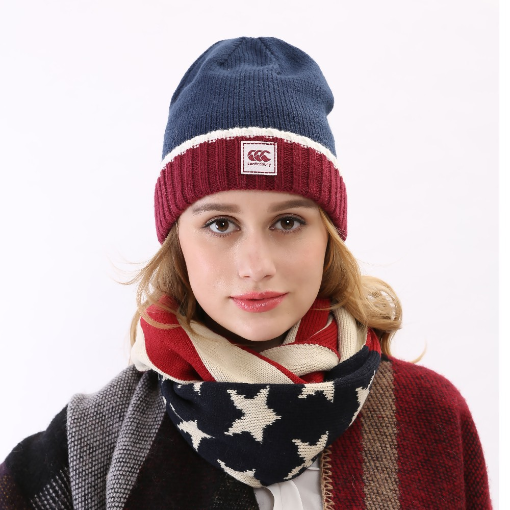 2015 Fall Brand New Arrival American Color Blue Red White Wool Ski Ribbed Thick  Skullies Hat Warm Winter Knit Beanie Women