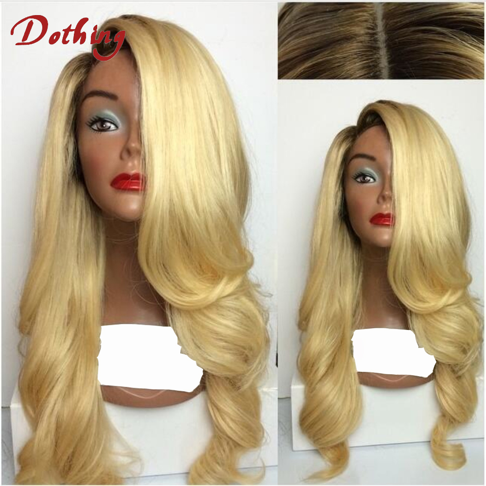 Qingdao Hair Factory Remy Virgin Brazilian Hair Lace Wig Vendors Loose Wave Ombre 1B 613 Two Tone Lace Front Wig