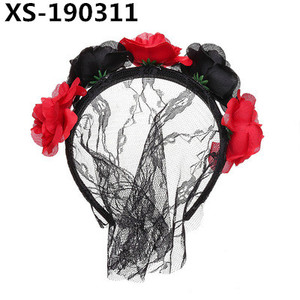 Wholesale Good Quality Custom Lace Facial Veil Flower Party Headband For Women