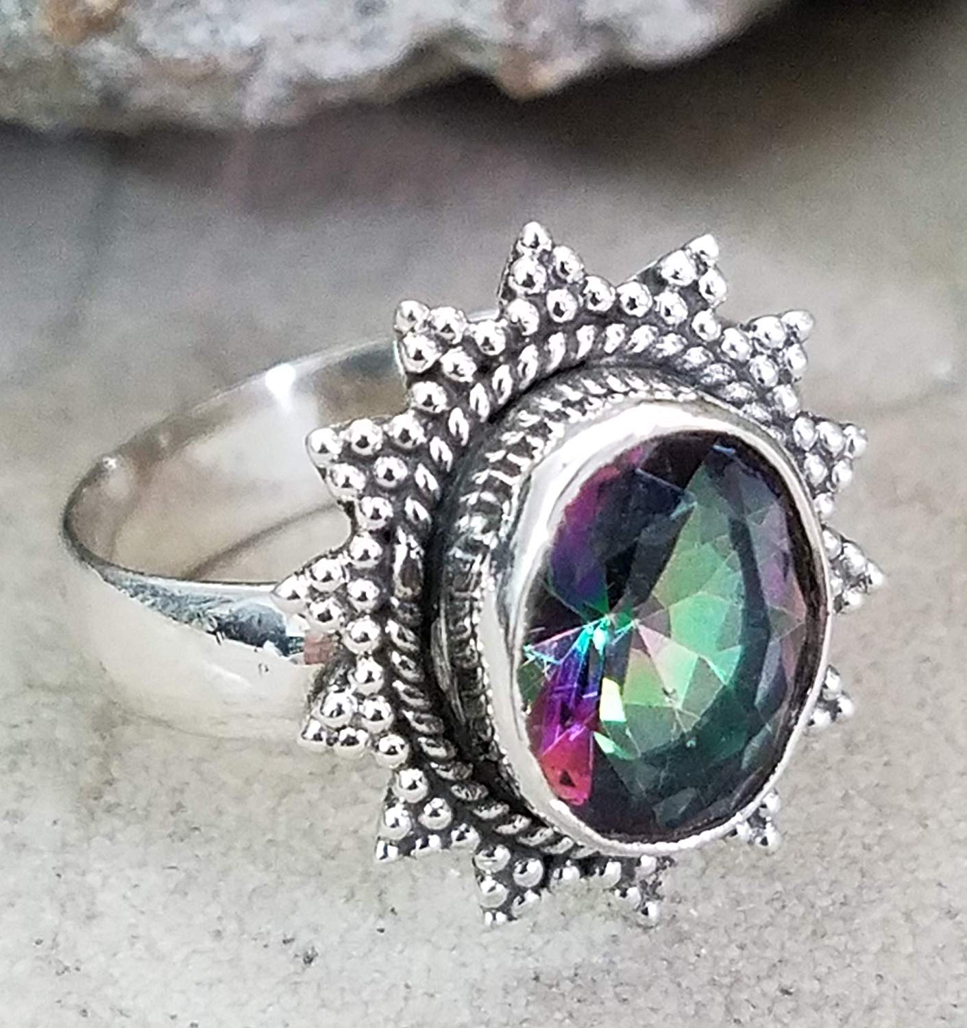 Mystic Topaz Ring.925 Sterling Silver.Intimate & Special Design.Ultimate Jewelry.Romantic Statement Ring.Unique pattern.Classic Modern Design.Victorian Filigree Ring.Vintage Style Ring.Gift