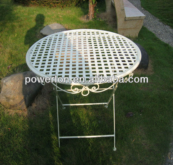 Eco-friendly 2013 newest luxury elegant white metal steel folding patio restaurant round table design