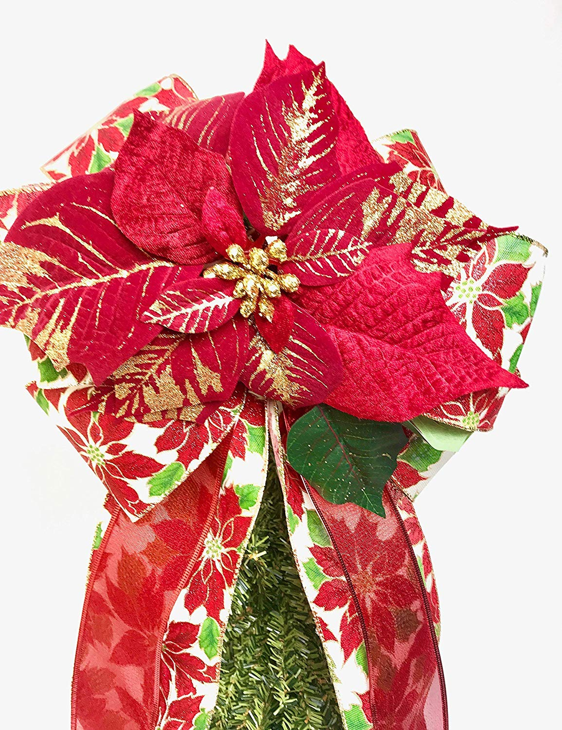 Wreath Bow, Red Gold Poinsettia Tree Topper, Large Gift Bow, Wreath Bows, Holiday Bow, Home Decor, Christmas Bows, Swag Bow,- Handmade Bow
