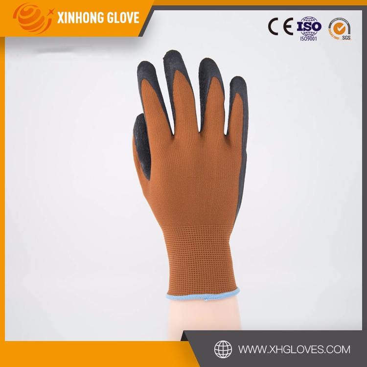13 Gauge PE Knitted with Glass Fiber Cut Resistance Level 5 Protective Working Gloves with Latex Coating Palm for Safety