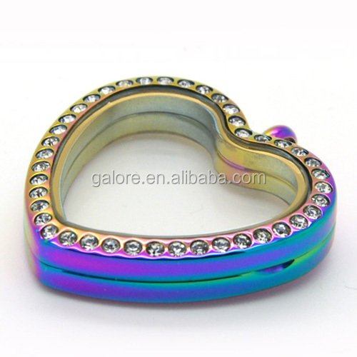 316L stainless steel cutom made rainbow colors heart shape lockets