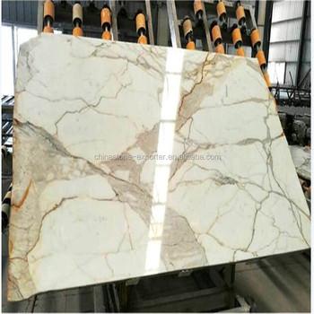 Italy White Calacatta Oro Marble Tile Slabs Gold
