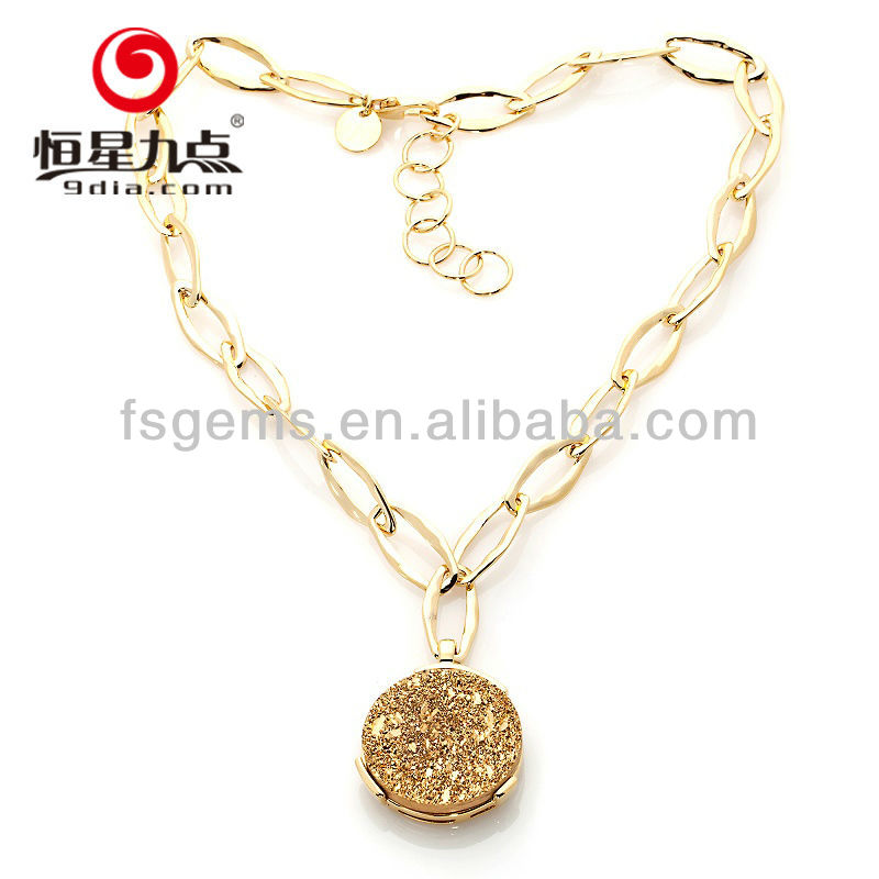 Alibaba China Hot Sale Natural Druzy 925 Sterling Silver 18kgp gold necklace