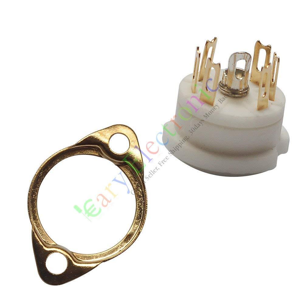 HF 20pc 6pin Gold Ceramic vacuum tube sockets HIFI audio amplifier DIY radio parts