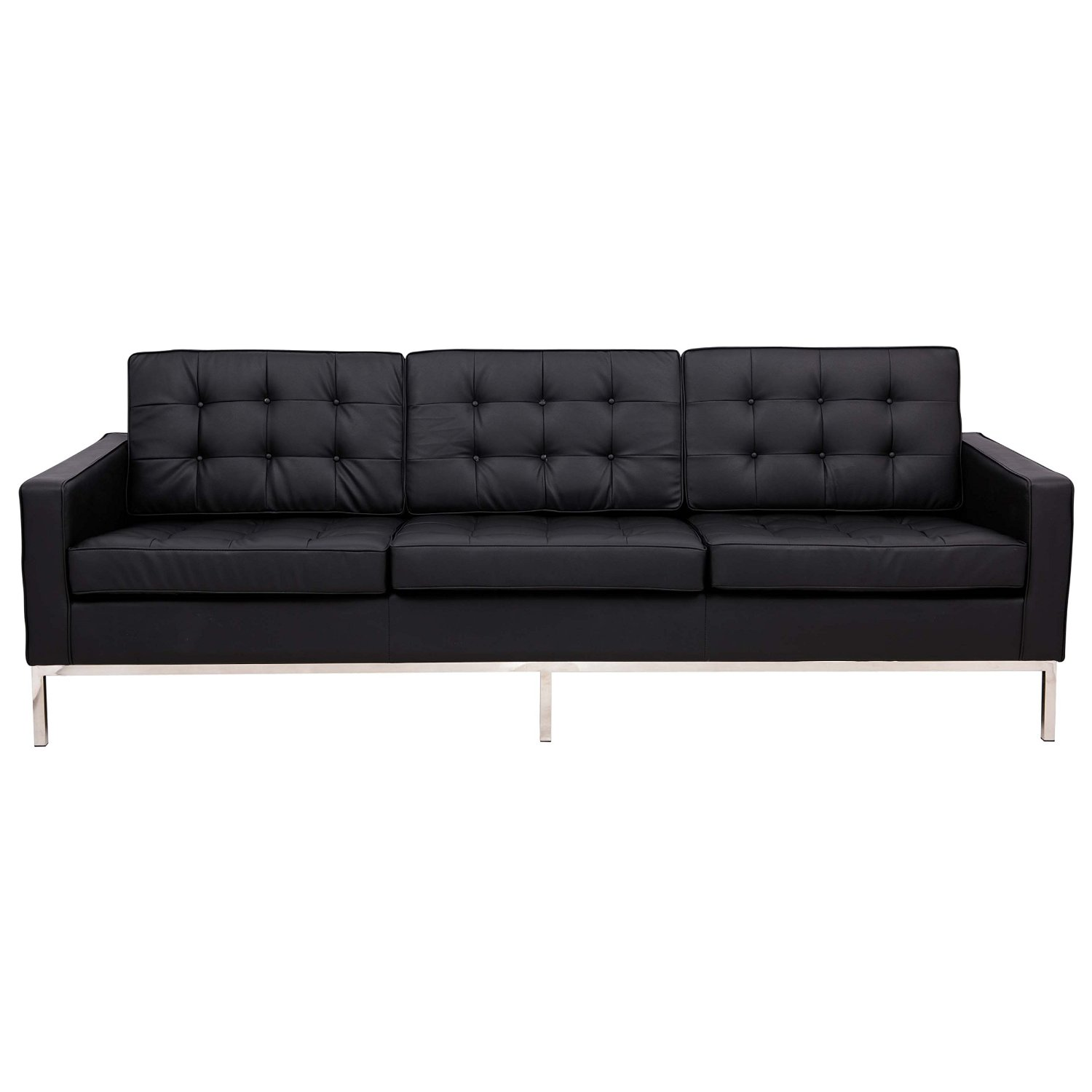 LeisureMod Florence Style Mid Century Modern Tufted Sofa in Black Leather