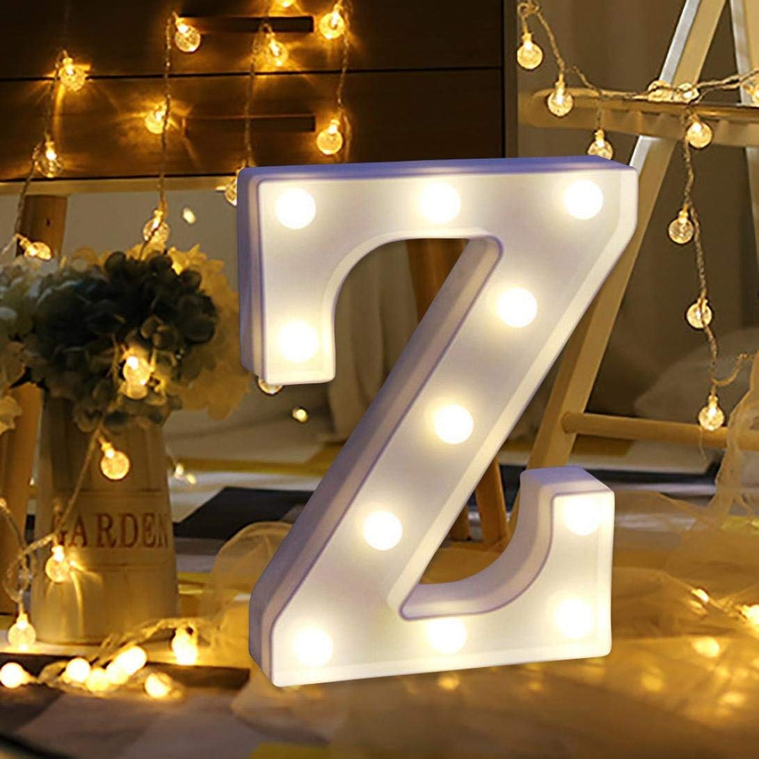 Vacally LED light,Alphabet Letter Lights LED Light Up White Plastic Letters Standing Hanging A -Z & Wedding Birthday Decorate