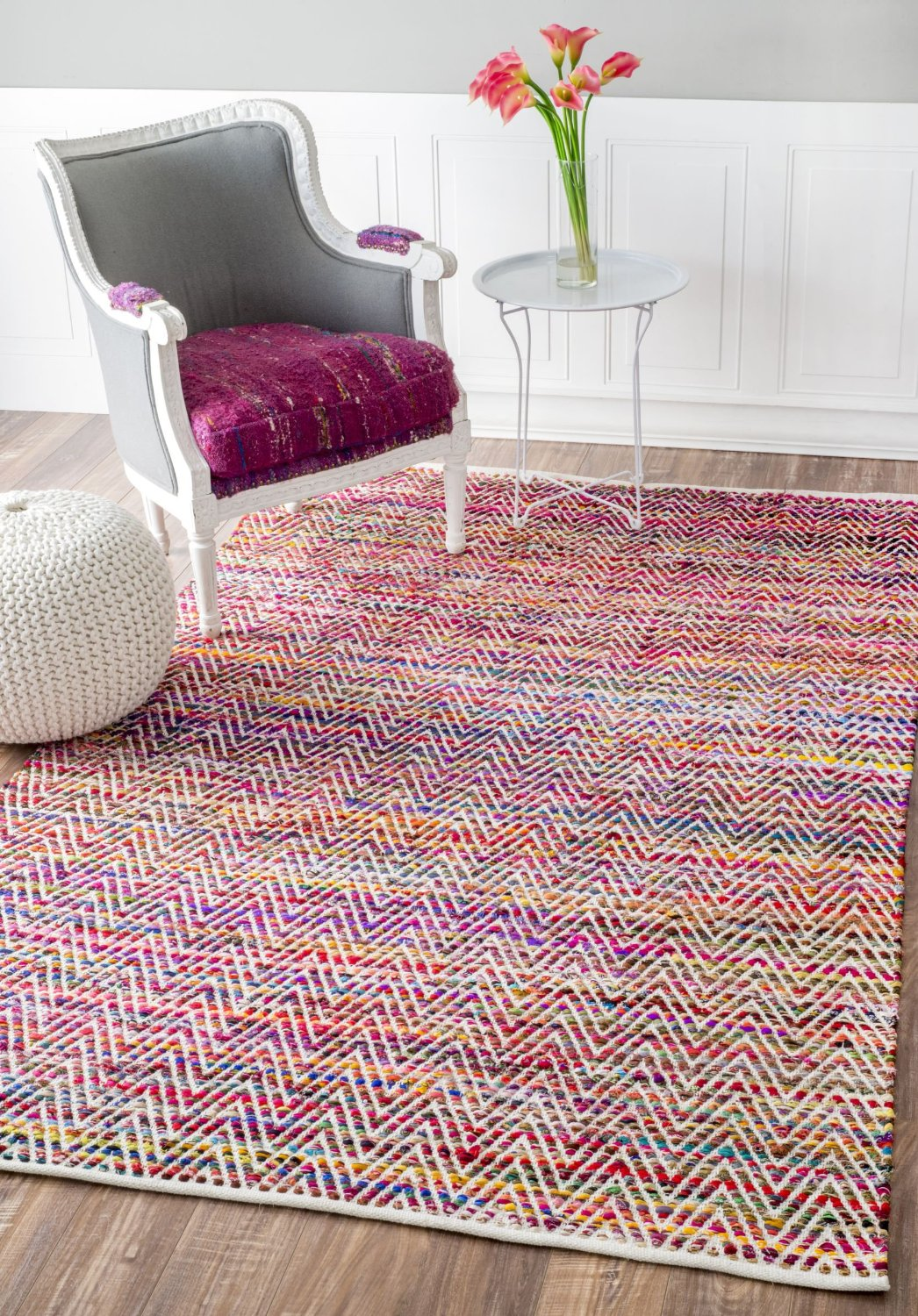 Hand Woven Candy Striped Chevron Magenta Area Rugs, 5 Feet by 8 Feet (5' x 8')