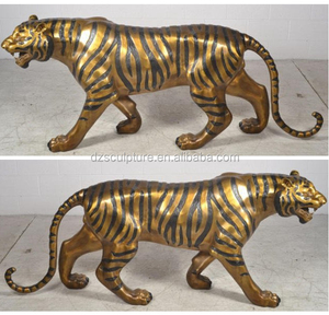 gold plated large animal brass tiger statue for zoo decoration