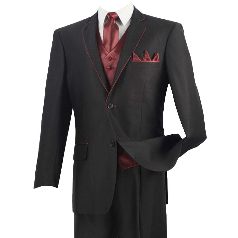 HBDesign Mens 3 Piece 2 Button Peak Lapel Red Line Edge Suits